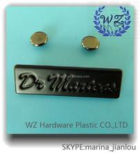Customized fancy handbag logo metal plate, metal logo