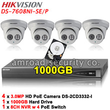 HIKVISION Kit DS-7608NI-SE/P 8CH PoE NVR Up to 5MP Network Video Recorder +1TB HDD+4x 3.0MP HD EXIR Dome IP Camera DS-2CD3332-I