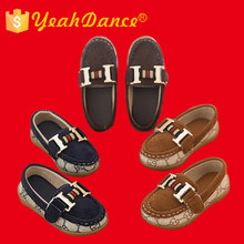 Low Price Leather Sole Casual Shoe Navy Tan Coffee Leather Fashion Child Shoes