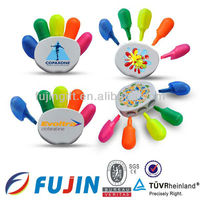 Hand finger palm shape highlighter many colors marker pen for Children for promotional product/resaltadores with forms