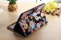 2014 newest design retro style flower pattern jean leather case for ipad air with tpu gel cover & card slot