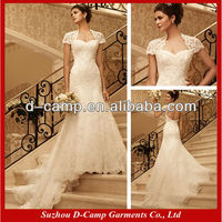 WD-488 Elegant lace keyhole back wedding dress with sleeve country lace wedding dress