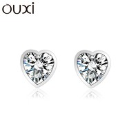 OUXI exquisite mini heart sterling silver stud earrings with cystals for ladies Y20100