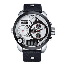 2015 trending hot products wholesale pu leather band 3movement japan movt quartz besnew custom logo men sport watch