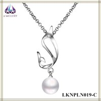 White Gold Trend Jewelry 2015 Cahrm Wholesale Cute Dolphin Pendant White Round Pearl Necklace For Girls