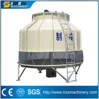 Cross flow cooling tower for injection machine