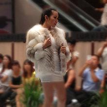 100% ruso de la moda real color natural de invierno lynx zorro abrigo de pieles pieles inanimal del sexo para las mujeres