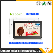 Cheap Tablet PC OEM 10 Inch Android 4.4 Allwinner A33 Quad Core 1G 16G Tablet White Box Tablet