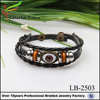 High Quality Leather Evil Eye Bracelet With Alloy and wooden Beads