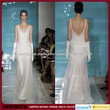 Largo elegante del A-line de los vestidos sin mangas de cuello en V profundo moldeado por encargo de la boda vestido de novia