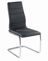 Coaster Modern Dining Black Faux Leather Dining Chair with Chrome Legs