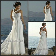 Free Shipping 2012 New Arrival Luxuriant One Shoulder Chiffon Ready To Ship Wedding Dress Beach Wedding Dress