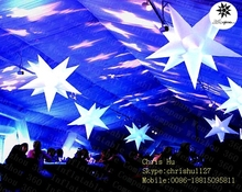 2015 popular 11-pointed inflatable hanging lighting event decoration spikey stars