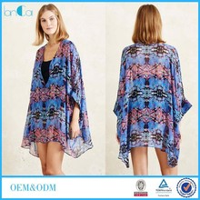 Customize New Fashion Printed Chiffon Kaftan Beach Kimono for Ladies OEM Service