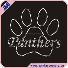 Panthers Paw Print Custom Rhinestone Iron On Transfer For T-Shirt Wholesale