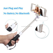 Cable Monopod Foldable Selfie Stick Cable Take Pole Extendable Hand Held Wired Monopod Cable Control Flexible Camera Monopod