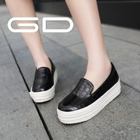 High quality women patent PU shine loafer shoes black leather PU young girls casual shoes 2014