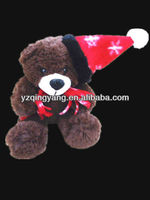 Latest christmas day gift cute and lovely plush teddy bear toy with red cap