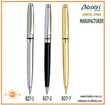 China factory stainless steel metal ballpoint/ball pen, silver, black, white, gold color pen, promotional gift pen, BP-827