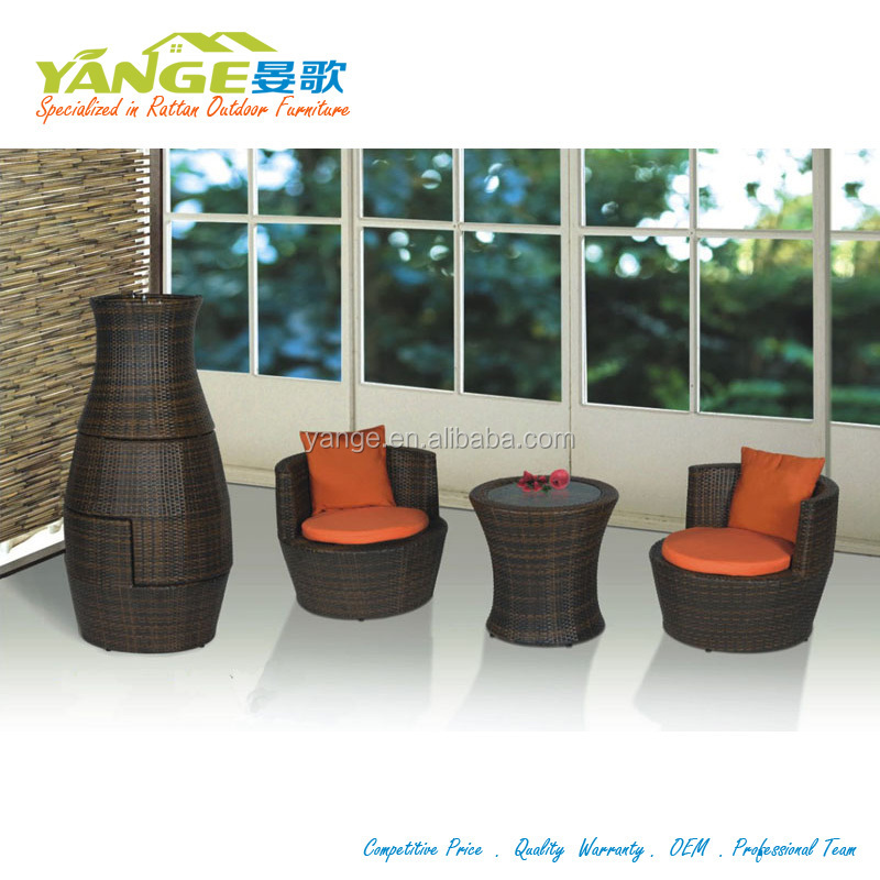 Rattan Wicker Garden Set Stacking Vases Shape Outdoor Furniture