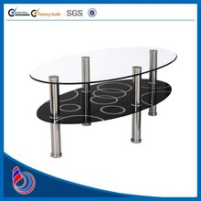 Fancy mdf modern led tempered glass round coffee table room furniture oval wood tables