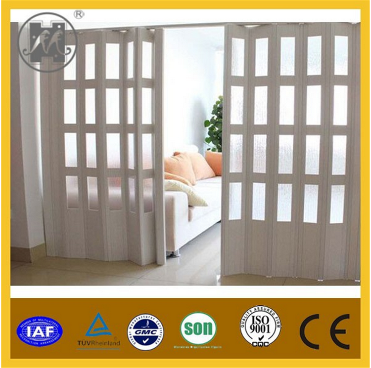 Wood Window Style Pvc Folding Soundproof Interior Door