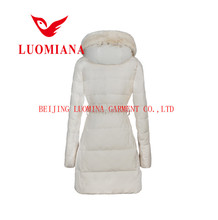 Branded winter sleeveless jackets women custom varsity down jackets with fur hood for girls