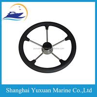 S.S Steering Black Wheel With PU Foam 5-Spoke For Marine 11 Inch 25 Degree
