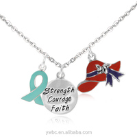 alphabet letter Strength Courage Faith Disc Red Hat And A Teal Awareness Ribbon charm Necklace