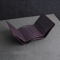 Purple full grain cow leather long mens wallet thin billfold wholesale and retail with gift package