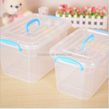 customized heavy-duty clear big plastic storage box with handle/high quality plastic container with lids manfuacturer