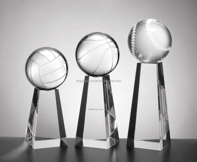 Crystal trophy award Onyx Pedestal Baseball Awards