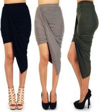 2015 hot selling asymmetrical solid high low wrapped elastic waist draped cut out skirt, sexy wrap banded waist dress
