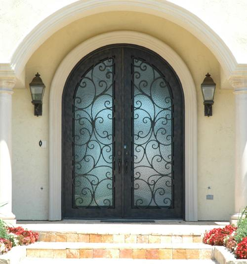 Wholesale wrought iron entry door with tansom for Wood doors with wrought iron