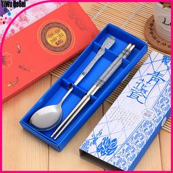 Stylish blue and white porcelain stainless steel tableware