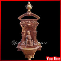 outdoor large hand carved stone boy water fountain pots stone wall fountain
