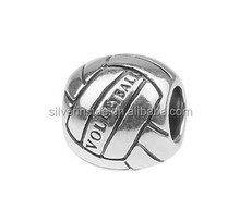 DIY bracelet charms Bead New Silver European Volleyball Basketball Sports Charms Beads Fit All European Charm Bracelets