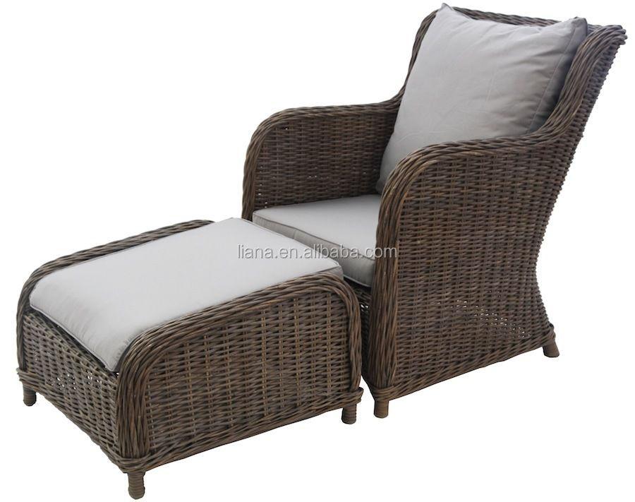 Round rattan chair with footrest aluminum wicker outdoor chair garden