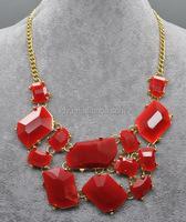 Burgundy Irregular Gem Stone Necklace, Fashion Costume Statement Necklace