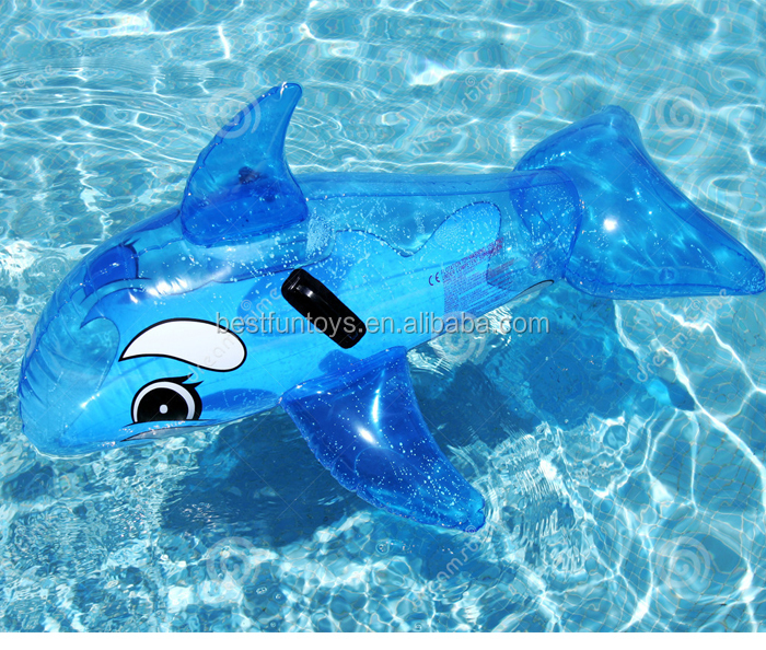Transparent dauphin monter sur des jouets pour enfants en for Animaux gonflable piscine