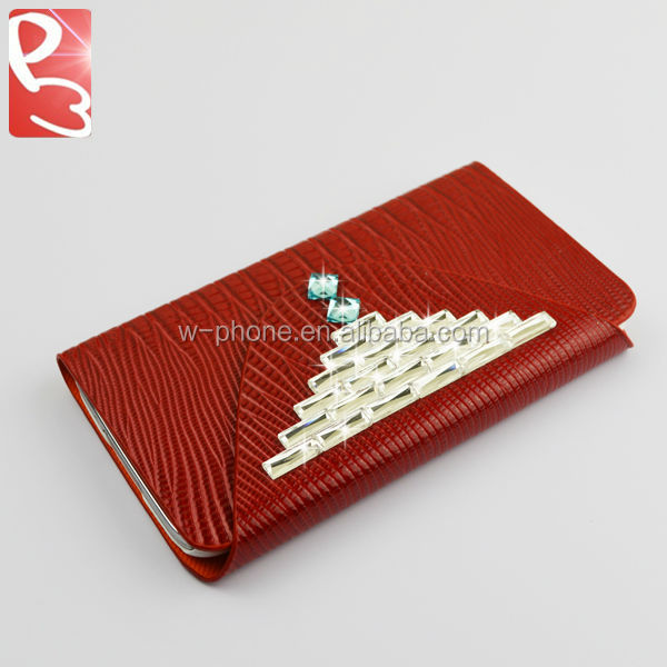 Red Credit Card Slot and Magnetic Strap Luxury PU Diamond Wallet Leather Cover for Samsung Galaxy S5