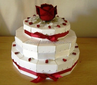 white triangle circle paper cake box with red ribbon ,new design for wedding&party
