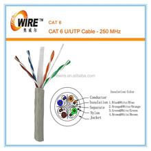Cat6, UTP, 23AWG, 8C Solid Bare Copper, CMR, 1000ft, Bulk Ethernet Cable