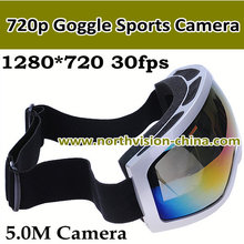 Hottest 720p goggle sports head camera with colorful double anti-fog Lens
