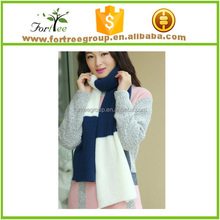 long thick pattern hand knitted scarf bright color scarf