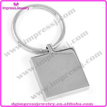 IJMK004 wholesale engravable blank square stainless steel keyring