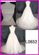 L0652 new arrival lace blush color wedding dress