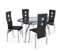 6+1leather chair, metal glass table of dining room set
