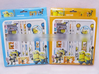 TF-G03150803045 minion depicable cute stationery set with iro pencil case,automatic pencil, pencil lead,erase,ballpoint pen
