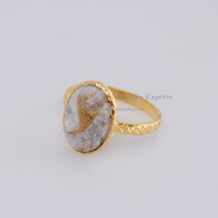 Natural Handcraft Rose Gold Calsite Rings, Vermeil Gold Sterling Silver Jewelry, Gemstone Jewelry Rings